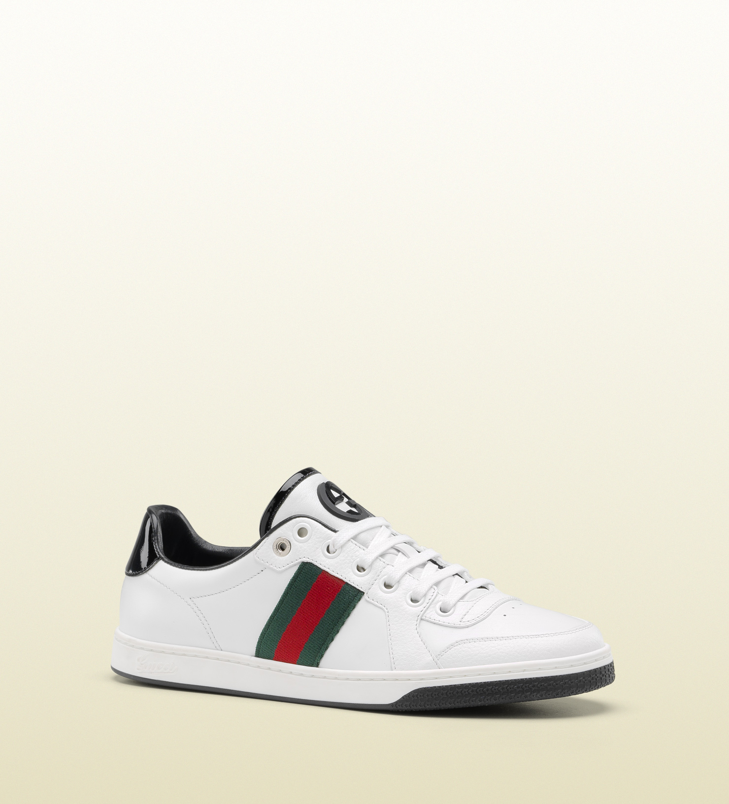 6cf298f7b Gucci Coda Web Stripe Low Top Laceup Sneaker in White for Men - Lyst
