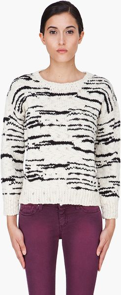 Iro Cream and Black Merino Knitted Jumper in Beige (cream)