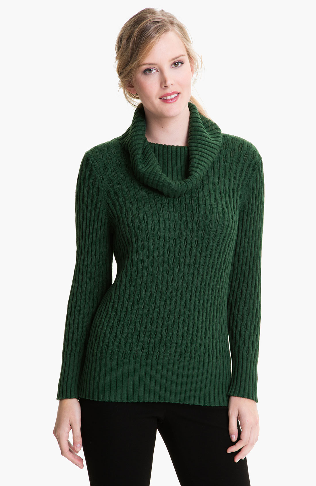 Lafayette 148 new york Cowl Neck Sweater in Green | Lyst
