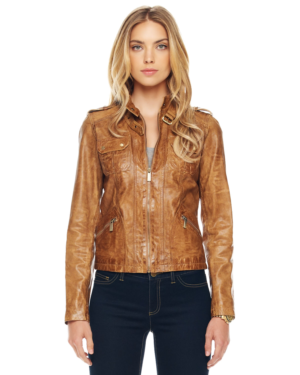 michael michael kors leather motorcycle jacket in beige camel lyst. Black Bedroom Furniture Sets. Home Design Ideas