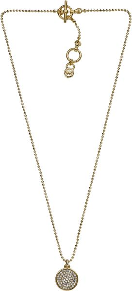 Michael Kors Pave Disc Necklace Golden in Silver (one size) - Lyst
