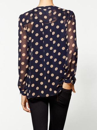 Mink Pink 39double Take39 Polka Dot Chiffon Shirt - Lyst