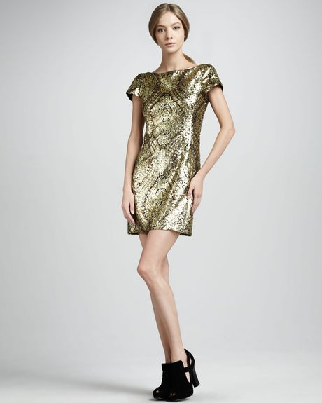 Nanette Lepore Gold Society Sequined Dress in Gold - Lyst