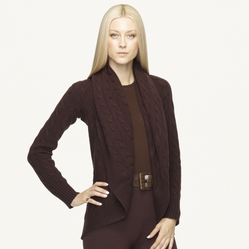 Ralph lauren black label Cashmere Circle Cardigan in Brown | Lyst