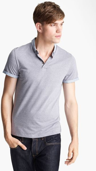 Topman Stripe Collar Polo - Lyst