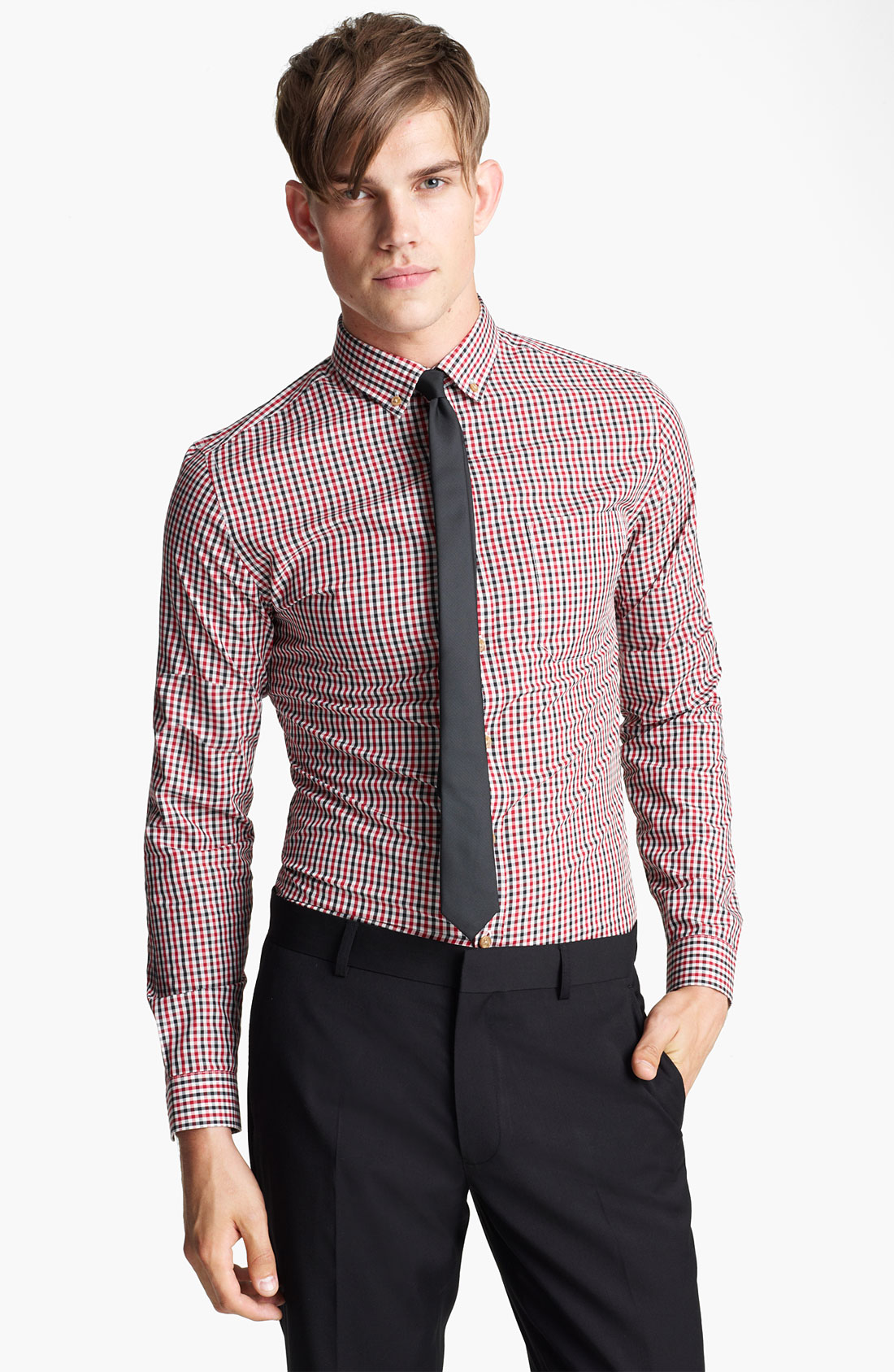 Topman Smart Check Shirt in Red for Men