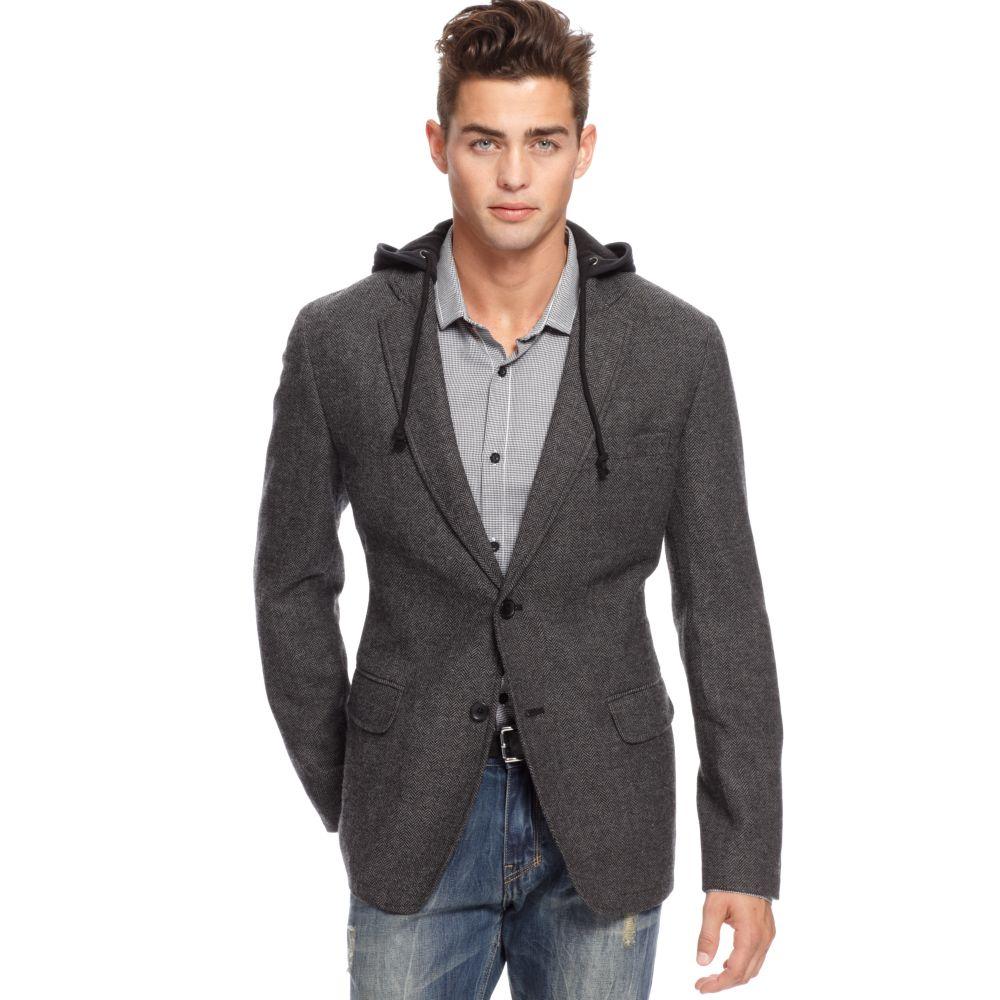 American rag Tweed Sport Jacket Hoodie in Gray for Men | Lyst