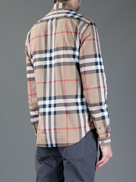 Burberry brit signature plaid shirt in brown for men lyst for Burberry brit plaid shirt