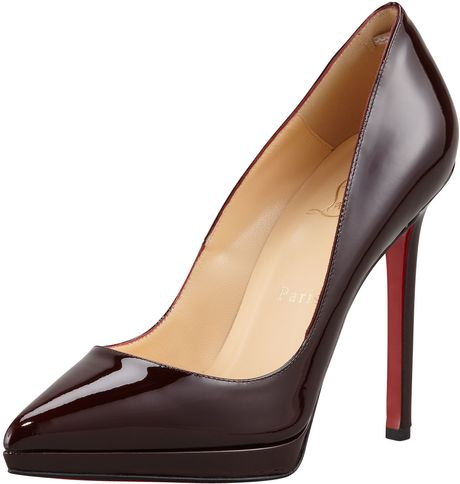 Christian Louboutin Pigalle Patent Platform Red Sole Pump in Purple (plum) - Lyst