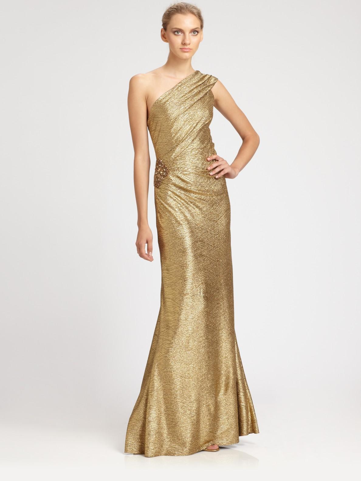 Lyst - David Meister Oneshoulder Metallic Gown in Metallic