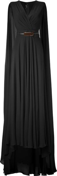 Elie Saab Black Belted Cape Back Silk Georgette Gown in Black - Lyst