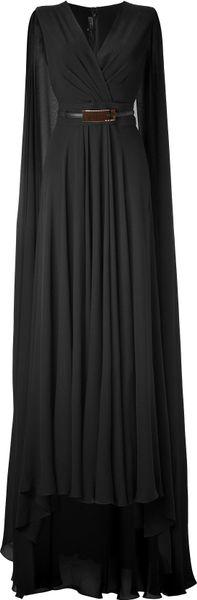 Elie Saab Black Belted Cape Back Silk Georgette Gown in Black
