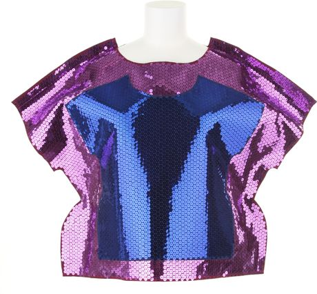 Comme Des Garçons 2d Top in Polyester with Pink Sequins in Purple (pink) - Lyst