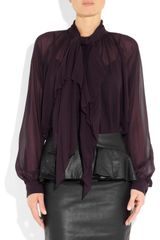 Gucci Silk Chiffon Blouse in Purple (eggplant) - Lyst