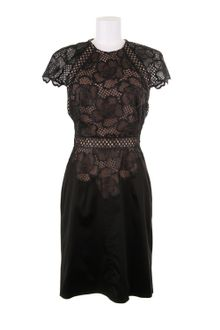 Marios Schwab Lace and Satin Black Dress in A Blend Of Polyester - Lyst