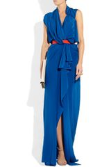 Vionnet Silk Crepe De Chine Gown in Blue (cobalt) - Lyst
