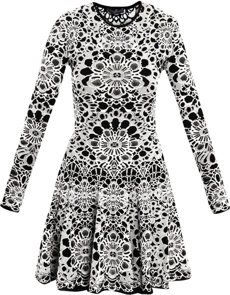Alexander Mcqueen Bicolour Flower Jacquard Dress in White (black)