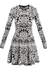 Alexander Mcqueen Bicolour Flower Jacquard Dress in White (black) - Lyst