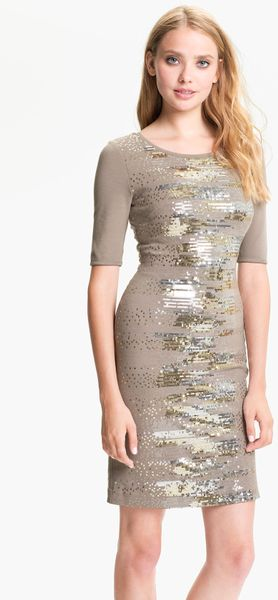 Bcbgmaxazria Sequin Pattern Ponte Dress in Gray (cinder combo) - Lyst