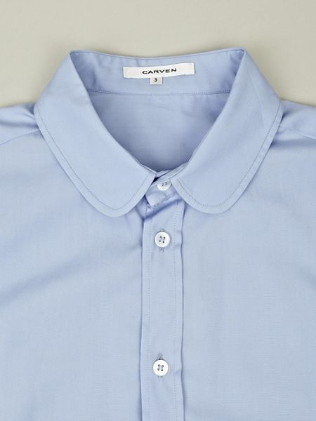 carven mens round collar shirt in blue for men lyst