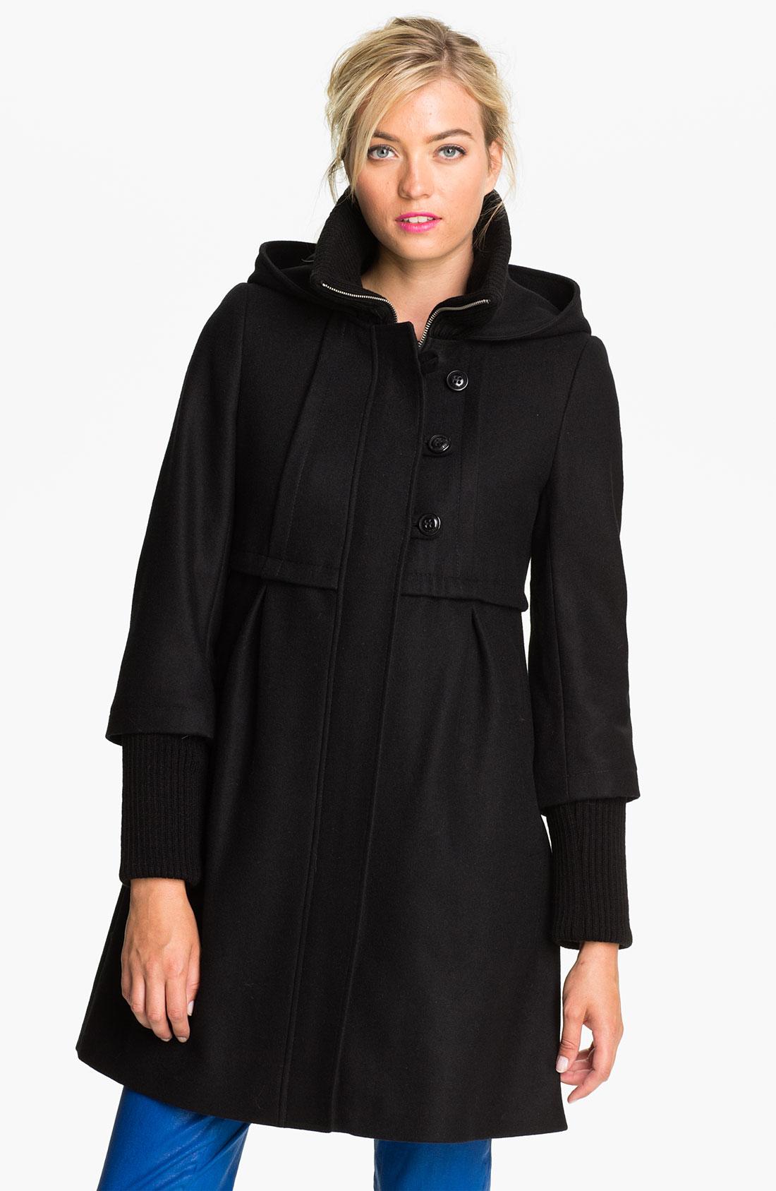 Dkny Black Wool Blend Bethany Rib Collar Babydoll Coat in Black | Lyst