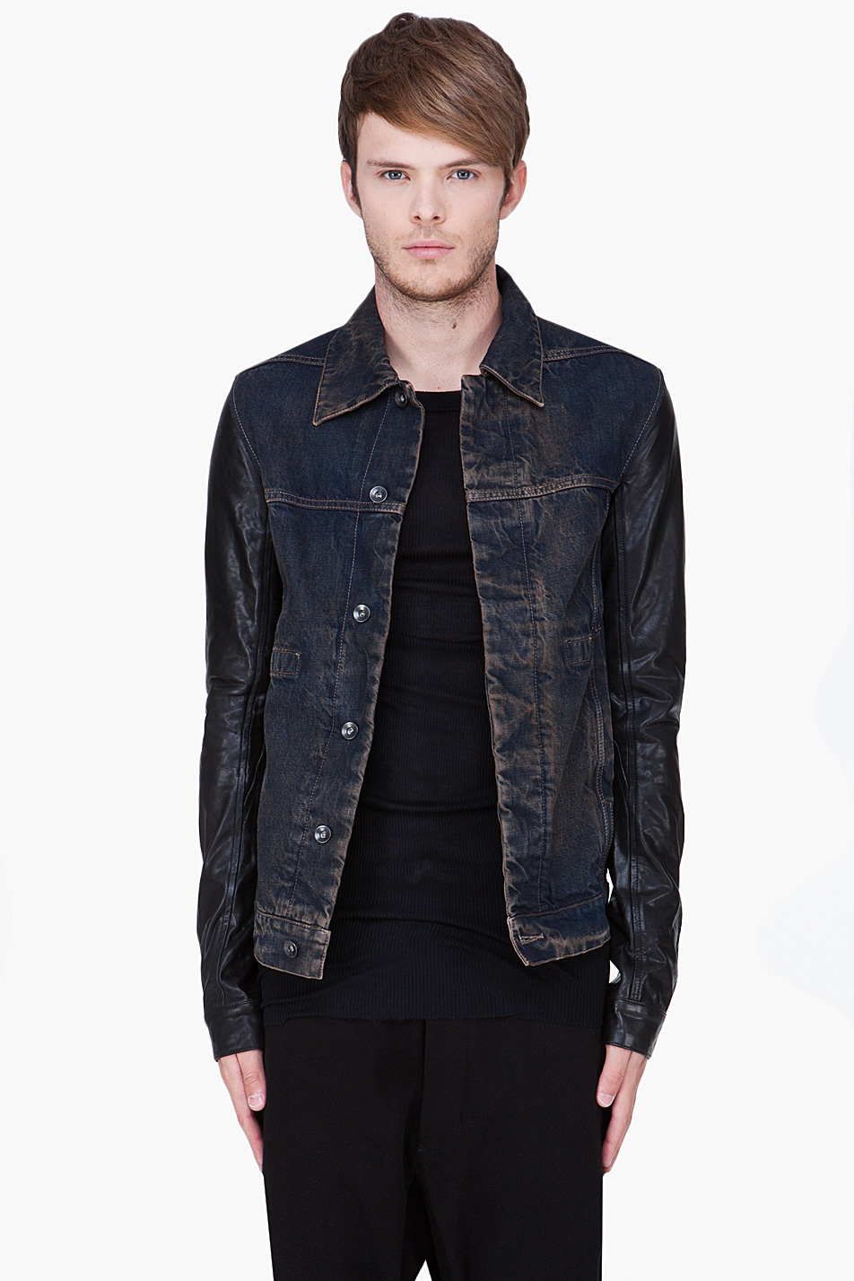 Drkshdw by rick owens Dark Blue Leather Sleeve Denim Jacket in ...