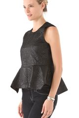 Elizabeth And James Yumi Peplum Top in Black - Lyst