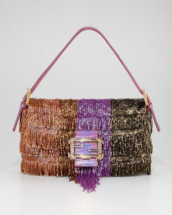 Fendi Beaded Fringe Baguette - Lyst
