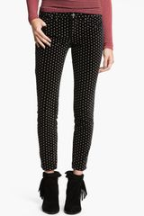 Free People Polka Dot Skinny Velvet Pants - Lyst