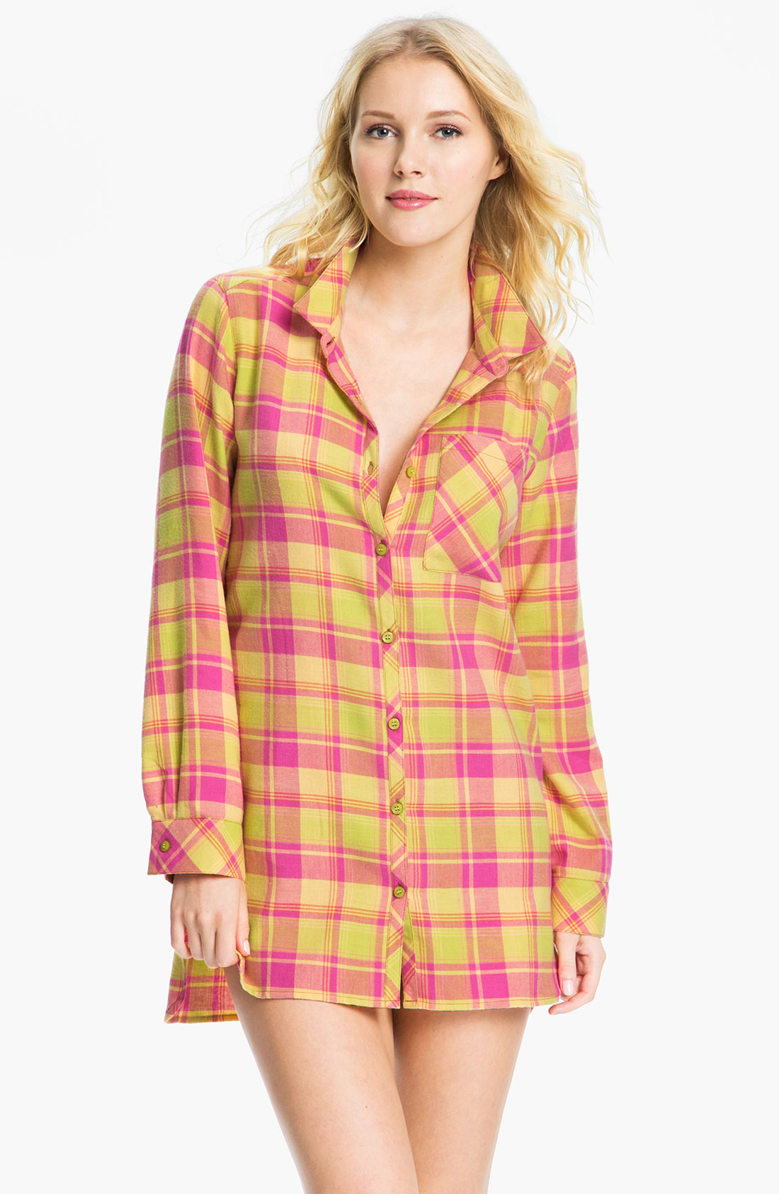 Make + Model In The Woods Flannel Nightshirt in Pink ...