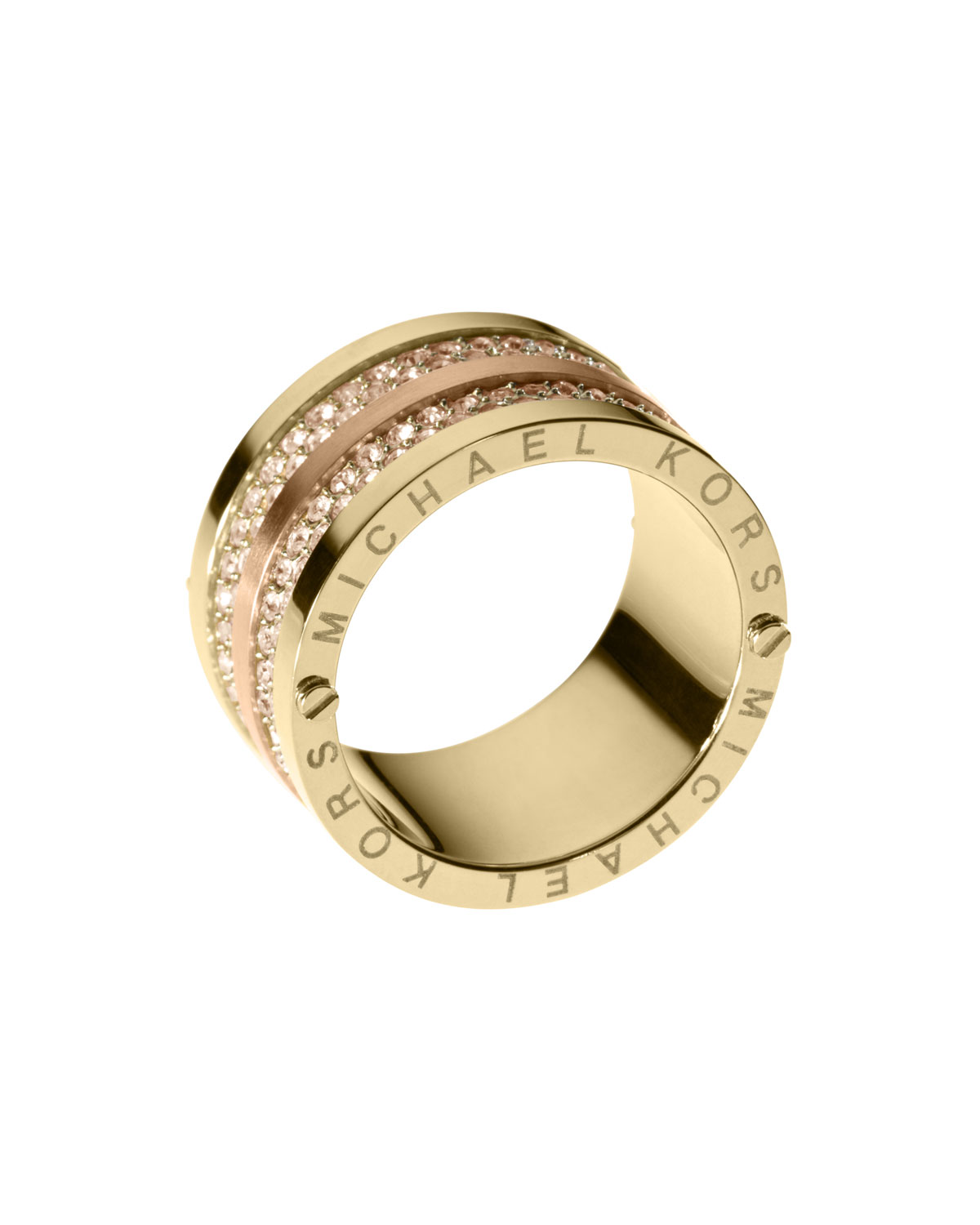michael kors pave barrel band ring in gold 6 lyst