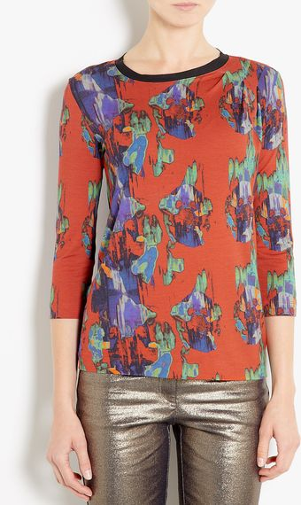 Mw Matthew Williamson Blurred Floral Jersey Top - Lyst