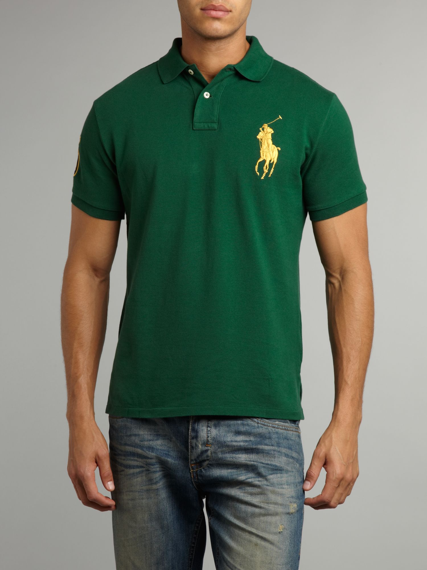 Ralph lauren hooded big pony cotton jacket green for Polo shirt with jacket