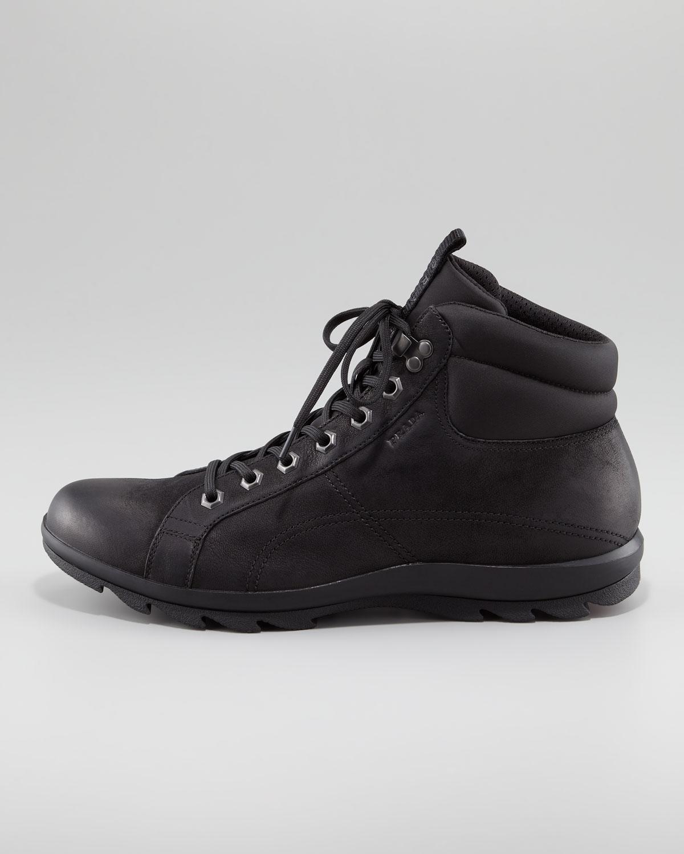 Prada Nubuck Leather Hiker Boot in Black for Men
