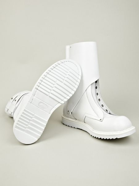 rick owens boot in white for lyst