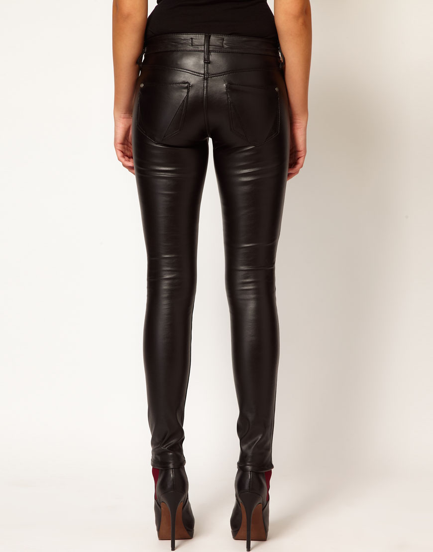 River Island Super Skinny Leather Look Jeans In Black Lyst