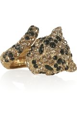 Roberto Cavalli Goldplated Swarovski Crystal Panther Ring - Lyst