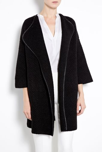 Vince Honeycomb Wool Leather Trim Car Coat - Lyst