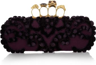 Alexander McQueen Knuckle Embellished Brocade Box Clutch - Lyst