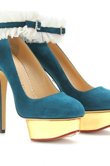 Charlotte Olympia Dolly Platform Pumps with Ruffled Anklets - Lyst