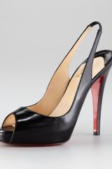 Christian Louboutin No Prive Leather Slingback Pumps in Black - Lyst