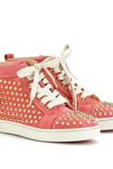 Christian Louboutin  Suede HiTop Sneakers in Pink (denim) - Lyst