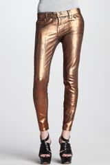 Current/Elliott The Stiletto Bronze Coated Foil Jeans - Lyst