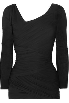 Donna Karan New York Draped Stretch Jersey Top - Lyst