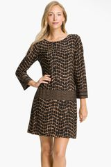 Donna Morgan Contrast Pattern Jersey Shift Dress - Lyst