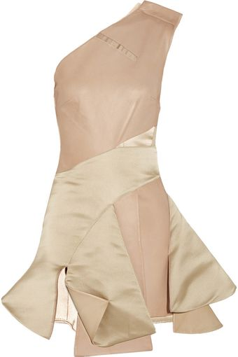 Esteban Cortazar Asymmetric Cutout Satin and Leather Dress - Lyst