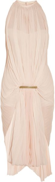Esteban Cortazar Gathered Accordion-Pleated Chiffon Dress - Lyst