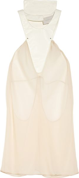Esteban Cortazar Chiffon and Leather Top - Lyst