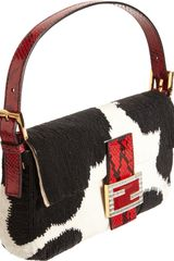 Fendi Python Beaded Baguette Bag in Black - Lyst
