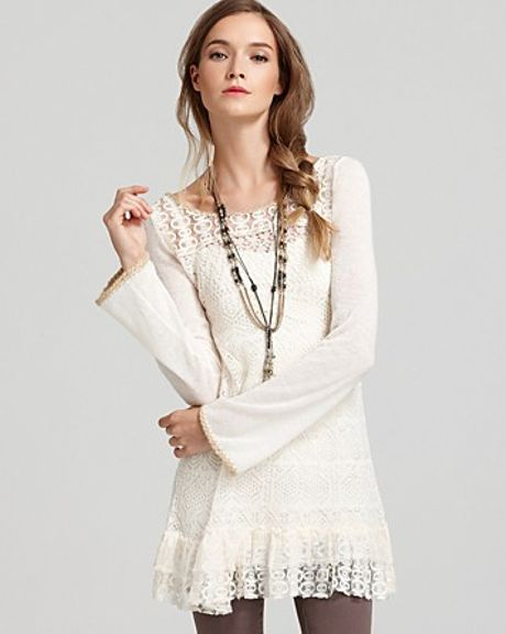 Free People Tunic Dreamy Lace Yarn in White (vanilla) - Lyst